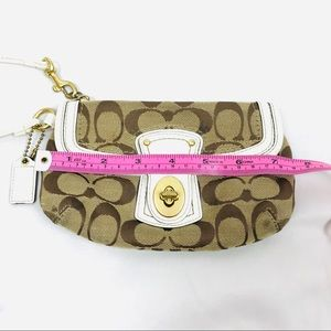 Coach Bags - Coach small wristlet clutch white leather strap